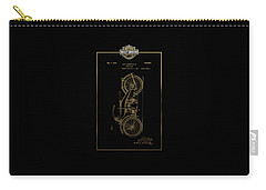 Carry-all Pouch featuring the digital art Harley-davidson Vintage 1924 Patent In Gold With 3d Badge On Black by Serge Averbukh
