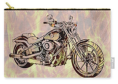 Carry-all Pouch featuring the mixed media Harley Motorcycle On Flames by Dan Sproul