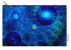 Carry-all Pouch featuring the digital art Harmonic Galaxies by Fran Riley