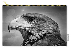 Harris Hawk  Black And White Carry-all Pouch