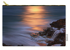Harvest Moon Rising Over Beach Rocks On Hutchinson Island Florida During Twilight. Carry-all Pouch by Justin Kelefas