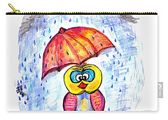 Carry-all Pouch featuring the drawing Has It Stopped Raining Yet?  by Ramona Matei