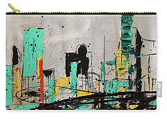 Carry-all Pouch featuring the painting Hashtag City by Carmen Guedez
