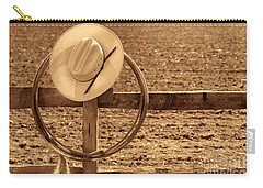 Hat And Lasso On A Fence Carry-all Pouch