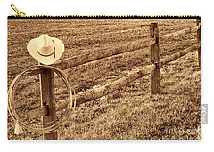 Hat And Lasso On Fence Carry-all Pouch