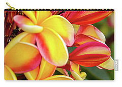 Carry-all Pouch featuring the photograph Hawaii Plumeria Flowers In Bloom by D Davila