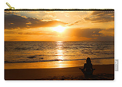 Carry-all Pouch featuring the photograph Hawaiian Beach Yoga by Michael Rucker