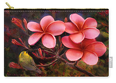 Carry-all Pouch featuring the painting Hawaiian Pink Plumeria And Amakihi Bird by Karen Whitworth
