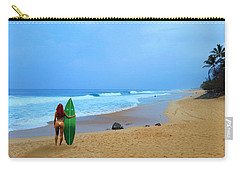 Hawaiian Surfer Girl Carry-all Pouch by Michael Rucker