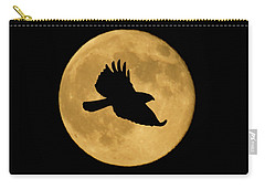 Carry-all Pouch featuring the mixed media Hawk Flying By Full Moon by Shane Bechler