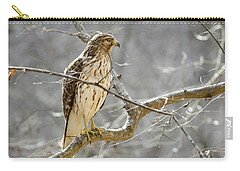 Carry-all Pouch featuring the photograph Hawk On Lookout by George Randy Bass