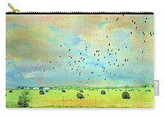 Carry-all Pouch featuring the photograph Hay Rolls Near Broken Arrow Oklahoma Two by Janette Boyd