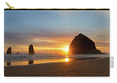 Haystack Rock At Cannon Beach During Sunset Carry-all Pouch