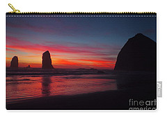 Haystack Rock At Sunset Carry-all Pouch