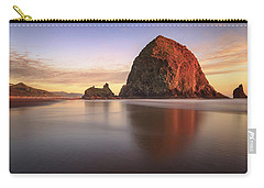 Carry-all Pouch featuring the photograph Haystack Rock Sunset by Adam Romanowicz