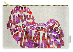 Carry-all Pouch featuring the painting Havanese Dog Watercolor Painting / Typographic Art by Ayse and Deniz