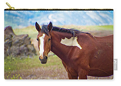 Head Shot Of A Wild Paint Horse Carry-all Pouch