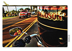 Heading Out On Harley Carry-all Pouch by Joan  Minchak