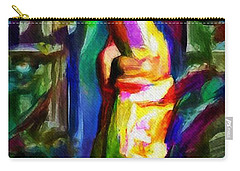 Headstand Naked Unconventional Figure Portrait Painting Bright Colorful Gymnastics Old Man Nude Male Men Athletic Stomach Fat Feet Head Hands Rainbow Carry-all Pouch