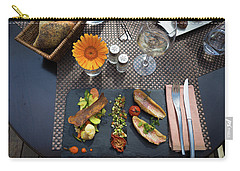 Carry-all Pouch featuring the photograph Health Fish Dish Served At A French Restaurant by Semmick Photo