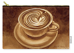 Carry-all Pouch featuring the painting Heart Latte by Hailey E Herrera