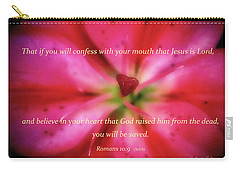 Heart Of A Flower With Bible Verses Carry-all Pouch