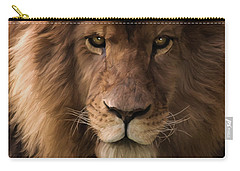 Carry-all Pouch featuring the painting Heart Of A Lion - Wildlife Art by Jordan Blackstone