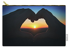 Carry-all Pouch featuring the photograph Heart Shaped Hand Silhouette - Sunset At Lapham Peak - Wisconsin by Jennifer Rondinelli Reilly - Fine Art Photography