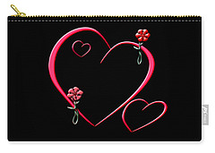 Carry-all Pouch featuring the digital art Hearts And Flowers by Judy Hall-Folde