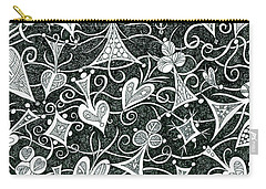 Hearts, Spades, Diamonds And Clubs In Black Carry-all Pouch