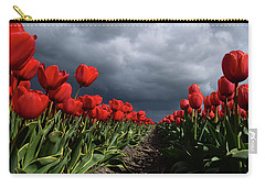 Heavy Clouds Over Red Tulips Carry-all Pouch by Mihaela Pater