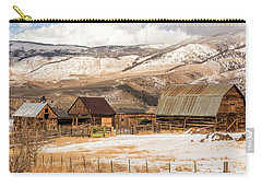 Heeney Road Barns And Snow Carry-all Pouch by Stephen Johnson