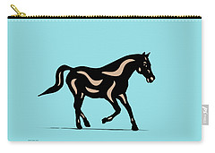 Heinrich - Pop Art Horse - Black, Hazelnut, Island Paradise Blue Carry-all Pouch