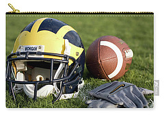Helmet On The Field With Football And Gloves Carry-all Pouch