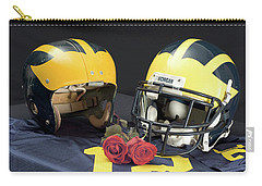 Helmets Of Different Eras With Jersey And Roses Carry-all Pouch