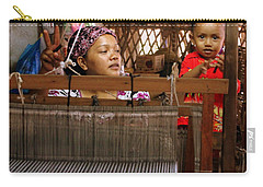 Carry-all Pouch featuring the photograph Helping Mom With The Weaving by Laurel Talabere