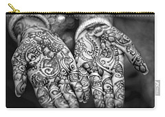 Henna Hands Black And White Carry-all Pouch