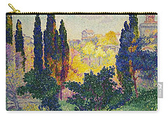 Carry-all Pouch featuring the painting Henri Edmond Cross French Les Cypres A Cagnes by Artistic Panda