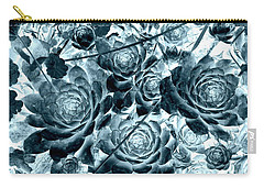 Hens And Chicks - Indigo Teal Blue Carry-all Pouch