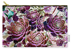 Hens And Chicks - Plum Rose Carry-all Pouch