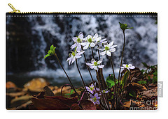 Carry-all Pouch featuring the photograph Hepatica And Waterfall by Thomas R Fletcher