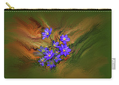 Carry-all Pouch featuring the digital art Hepatica Nobilis Painterly #h4 by Leif Sohlman