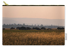 Herd Of Bison Grazing Panorama Carry-all Pouch