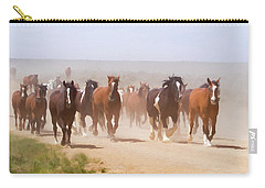 Herd Of Horses During The Great American Horse Drive On A Dusty Road Carry-all Pouch
