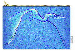 Carry-all Pouch featuring the photograph Heron In Flight by Walt Foegelle