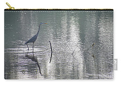 Carry-all Pouch featuring the photograph Heron In Pastel Waters by Skip Willits