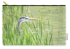 Carry-all Pouch featuring the photograph Heron In The Reeds by Anita Oakley