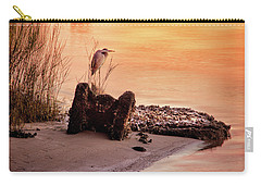 Carry-all Pouch featuring the photograph Heron On The Rocks by Phil Mancuso