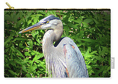 Carry-all Pouch featuring the digital art Blue Heron With An Attitude by Kathy Kelly