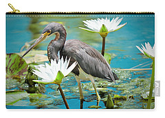 Heron With Water Lillies Carry-all Pouch